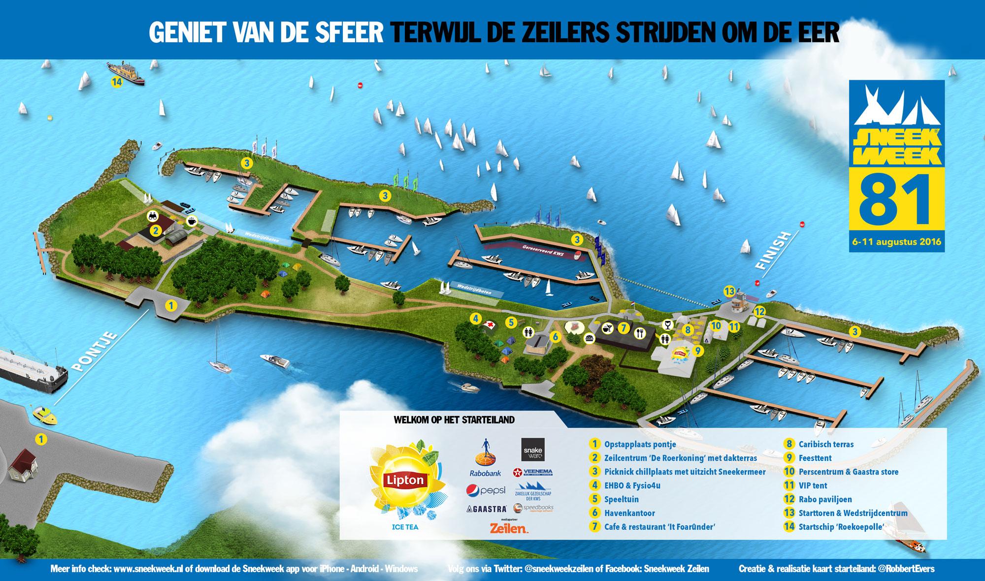 Dit botenfestijn vindt plaats op het 'Starteiland' op het Sneekermeer
